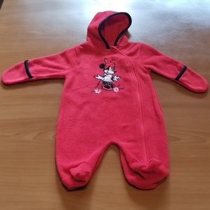 Disney Minnie Mouse Red Fleece Hooded Footed Pjs